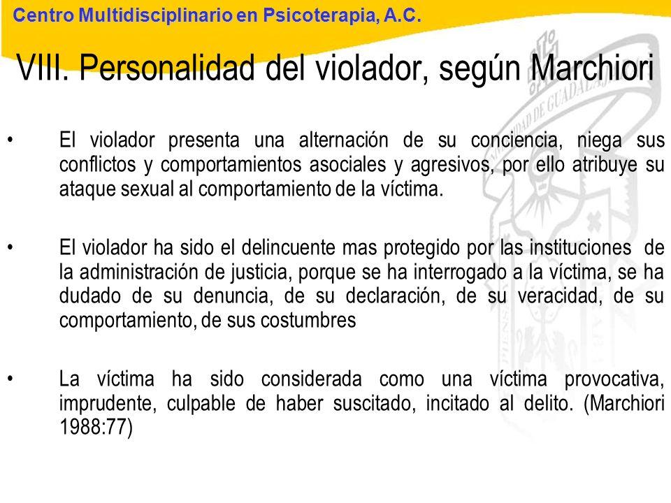 Seminario de Psicología Jurídica VIII. Personalidad del violador, según Marchiori Centro Multidisciplinario en Psicoterapia, A.C. El violador presenta