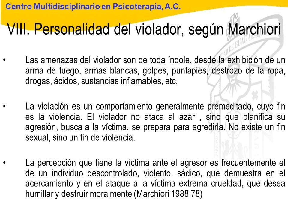 Seminario de Psicología Jurídica VIII. Personalidad del violador, según Marchiori Centro Multidisciplinario en Psicoterapia, A.C. Las amenazas del vio