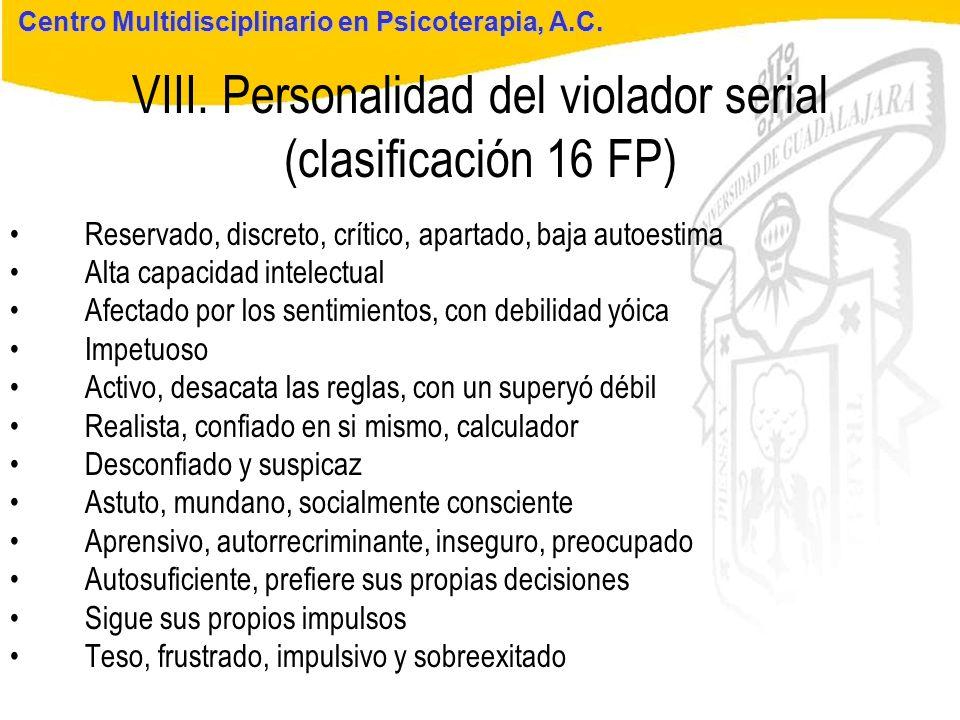 Seminario de Psicología Jurídica VIII. Personalidad del violador serial (clasificación 16 FP) Centro Multidisciplinario en Psicoterapia, A.C. Reservad