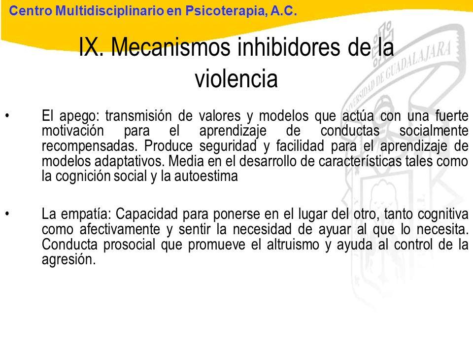Seminario de Psicología Jurídica IX. Mecanismos inhibidores de la violencia Centro Multidisciplinario en Psicoterapia, A.C. El apego: transmisión de v