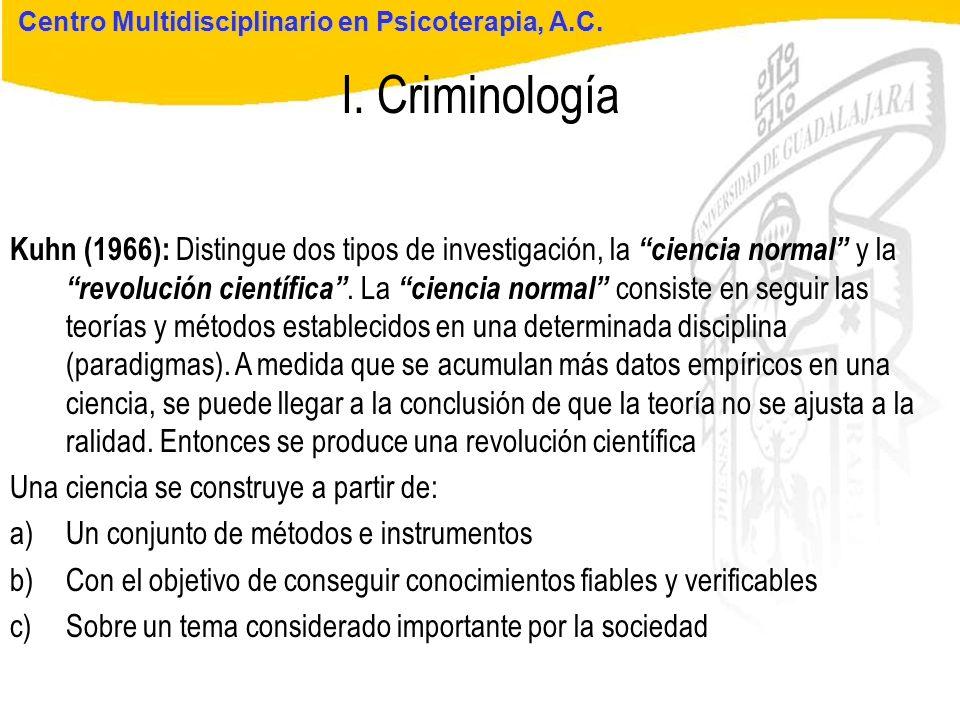 Seminario de Psicología Jurídica I. Criminología Centro Multidisciplinario en Psicoterapia, A.C. Kuhn (1966): Distingue dos tipos de investigación, la