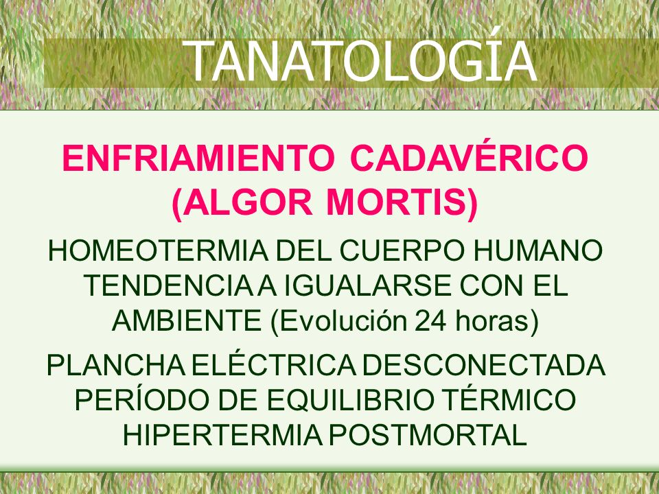 ENFRIAMIENTO CADAVÉRICO (ALGOR MORTIS) HOMEOTERMIA DEL CUERPO HUMANO TENDENCIA A IGUALARSE CON EL AMBIENTE (Evolución 24 horas) PLANCHA ELÉCTRICA DESC