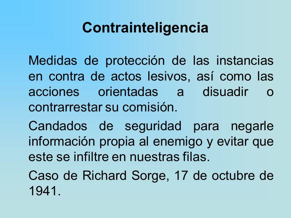 Contrainteligencia Medidas de protección de las instancias en contra de actos lesivos, así como las acciones orientadas a disuadir o contrarrestar su