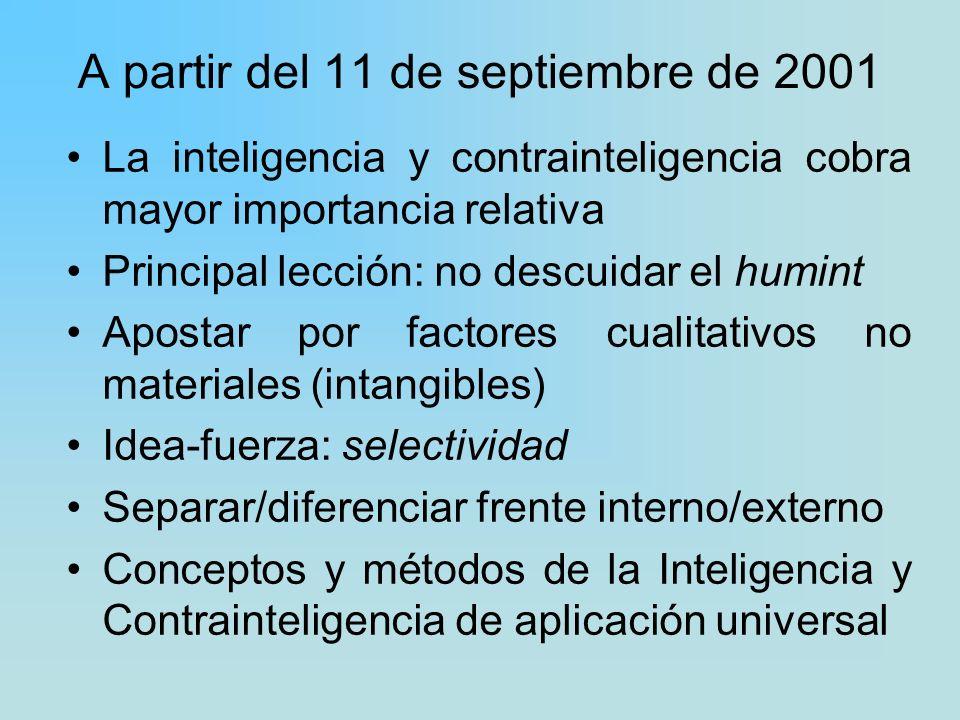 A partir del 11 de septiembre de 2001 La inteligencia y contrainteligencia cobra mayor importancia relativa Principal lección: no descuidar el humint