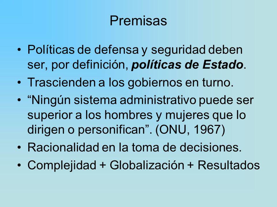 Premisas Políticas de defensa y seguridad deben ser, por definición, políticas de Estado. Trascienden a los gobiernos en turno. Ningún sistema adminis