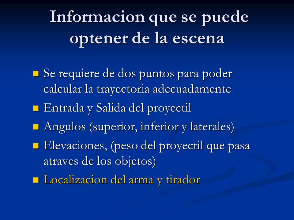 Informacion que se puede optener de la escena Informacion que se puede optener de la escena Se requiere de dos puntos para poder calcular la trayector