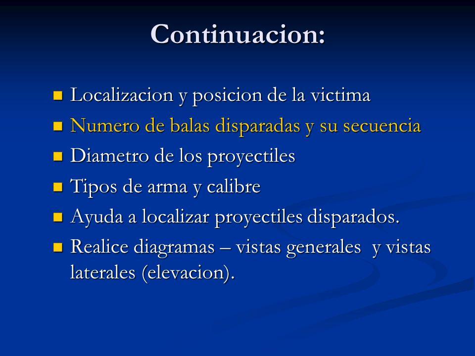 Continuacion: Localizacion y posicion de la victima Localizacion y posicion de la victima Numero de balas disparadas y su secuencia Numero de balas di