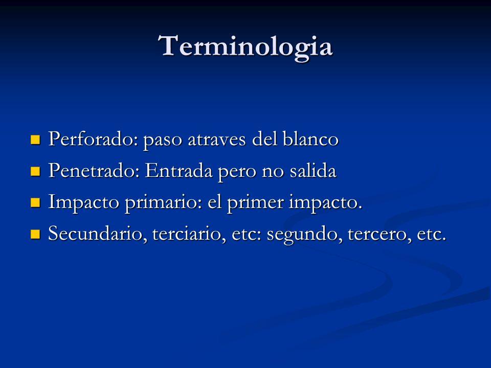 Terminologia Perforado: paso atraves del blanco Perforado: paso atraves del blanco Penetrado: Entrada pero no salida Penetrado: Entrada pero no salida