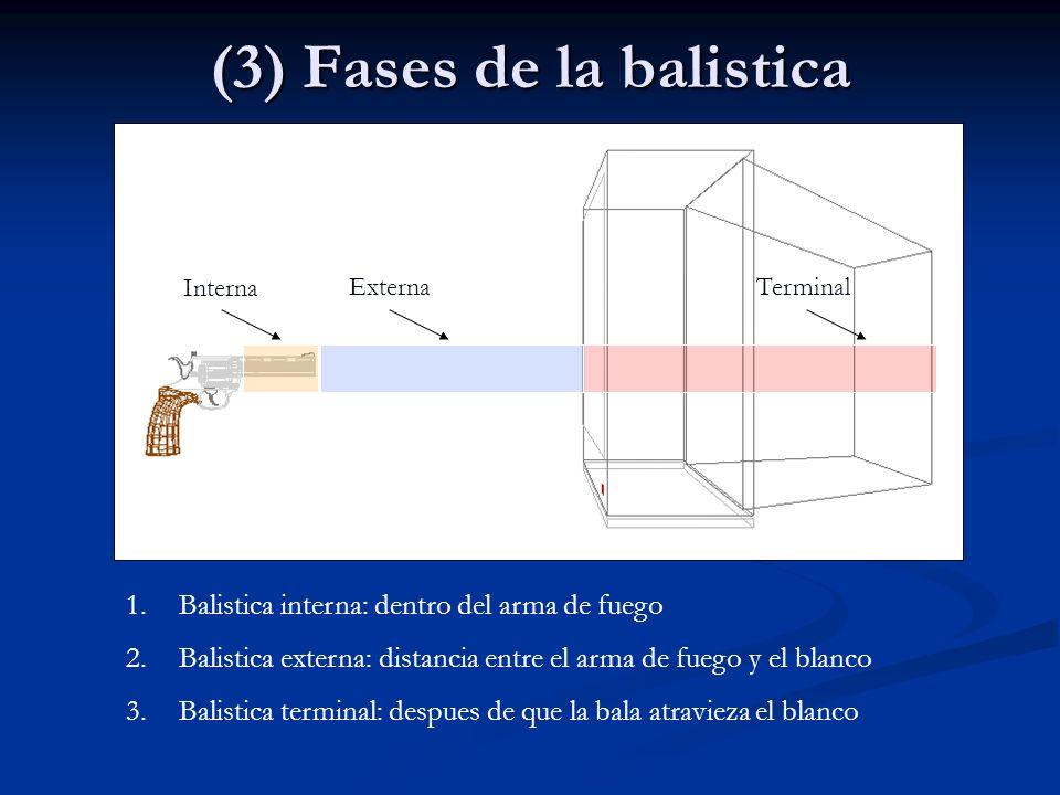 (3) Fases de la balistica Interna ExternaTerminal 1.Balistica interna: dentro del arma de fuego 2.Balistica externa: distancia entre el arma de fuego
