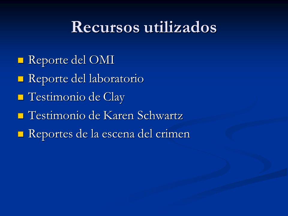 Recursos utilizados Reporte del OMI Reporte del OMI Reporte del laboratorio Reporte del laboratorio Testimonio de Clay Testimonio de Clay Testimonio d