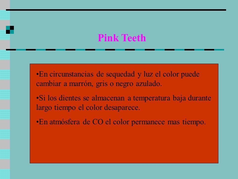 Pink Teeth En circunstancias de sequedad y luz el color puede cambiar a marrón, gris o negro azulado. Si los dientes se almacenan a temperatura baja d