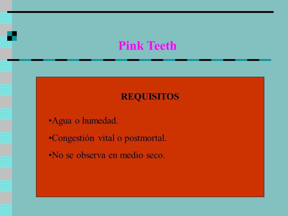 Pink Teeth REQUISITOS Agua o humedad. Congestión vital o postmortal. No se observa en medio seco.