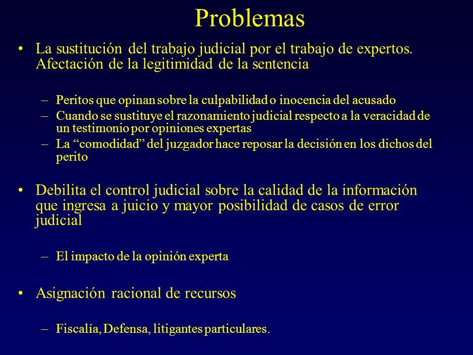 Problemas La sustitución del trabajo judicial por el trabajo de expertos.