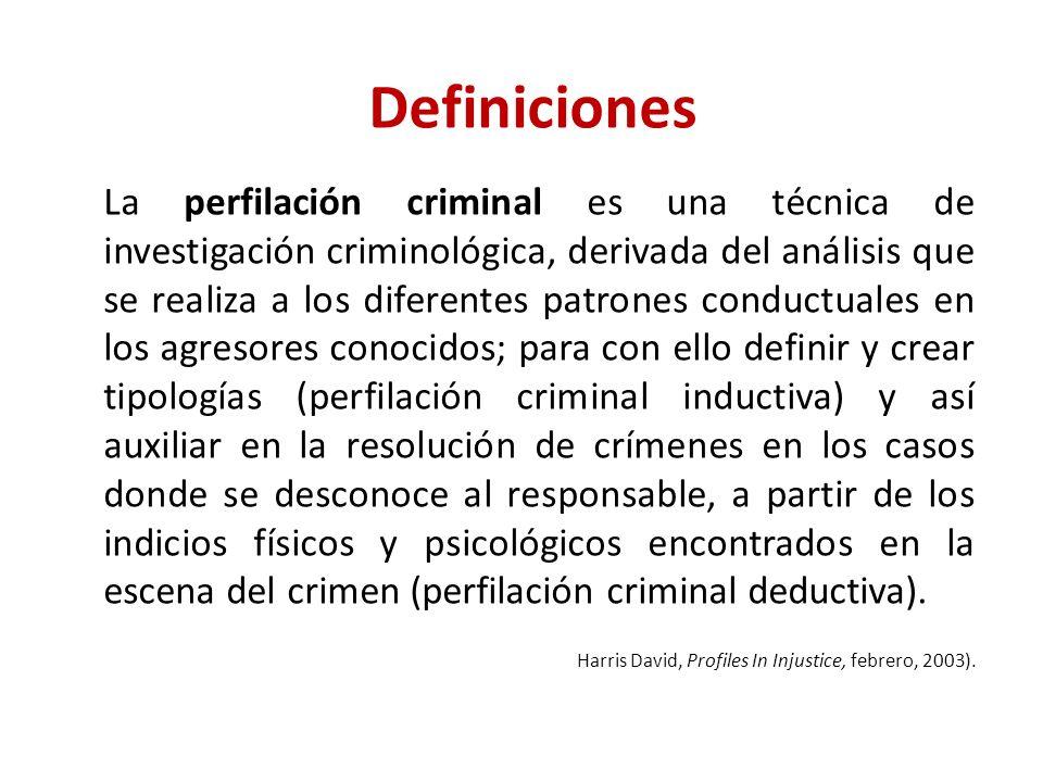 Definiciones La perfilación criminal es una técnica de investigación criminológica, derivada del análisis que se realiza a los diferentes patrones con