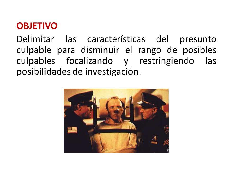 OBJETIVO Delimitar las características del presunto culpable para disminuir el rango de posibles culpables focalizando y restringiendo las posibilidad