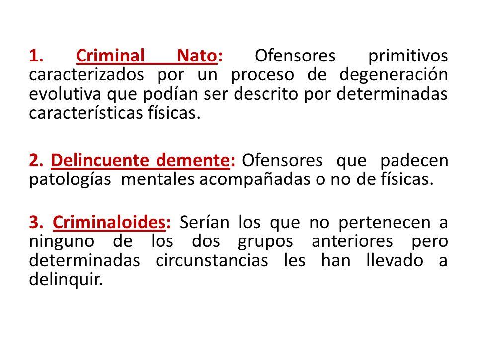 1. Criminal Nato: Ofensores primitivos caracterizados por un proceso de degeneración evolutiva que podían ser descrito por determinadas característica