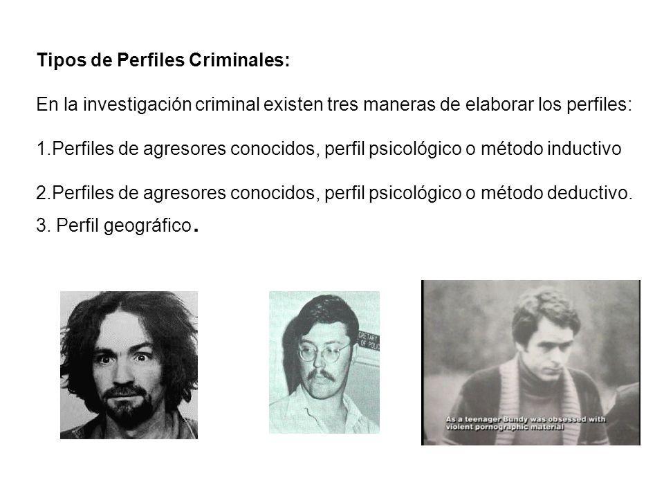 Tipos de Perfiles Criminales: En la investigación criminal existen tres maneras de elaborar los perfiles: 1.Perfiles de agresores conocidos, perfil psicológico o método inductivo 2.Perfiles de agresores conocidos, perfil psicológico o método deductivo.