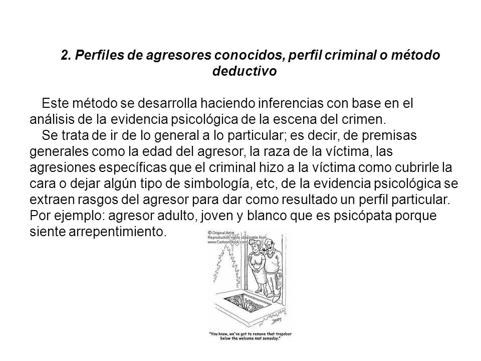 2. Perfiles de agresores conocidos, perfil criminal o método deductivo Este método se desarrolla haciendo inferencias con base en el análisis de la ev