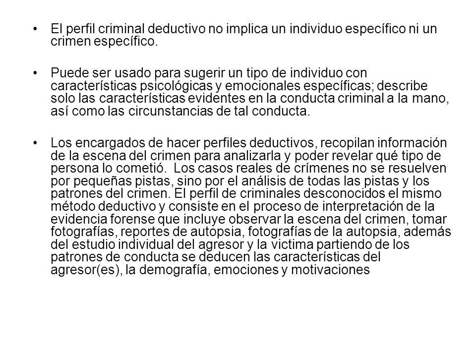 El perfil criminal deductivo no implica un individuo específico ni un crimen específico. Puede ser usado para sugerir un tipo de individuo con caracte