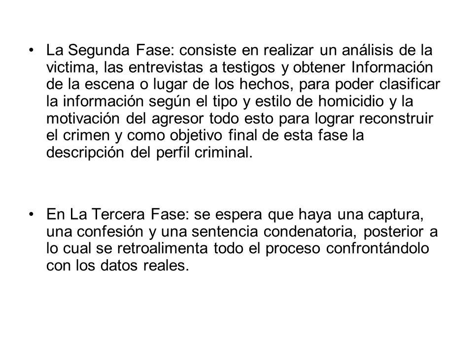 La Segunda Fase: consiste en realizar un análisis de la victima, las entrevistas a testigos y obtener Información de la escena o lugar de los hechos,