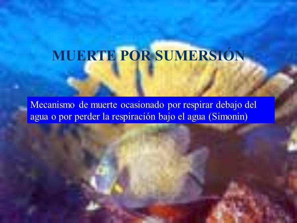 MUERTE POR SUMERSIÓN Mecanismo de muerte ocasionado por respirar debajo del agua o por perder la respiración bajo el agua (Simonin)