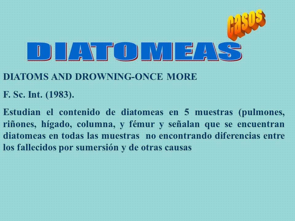 DIATOMS AND DROWNING-ONCE MORE F. Sc. Int. (1983). Estudian el contenido de diatomeas en 5 muestras (pulmones, riñones, hígado, columna, y fémur y señ