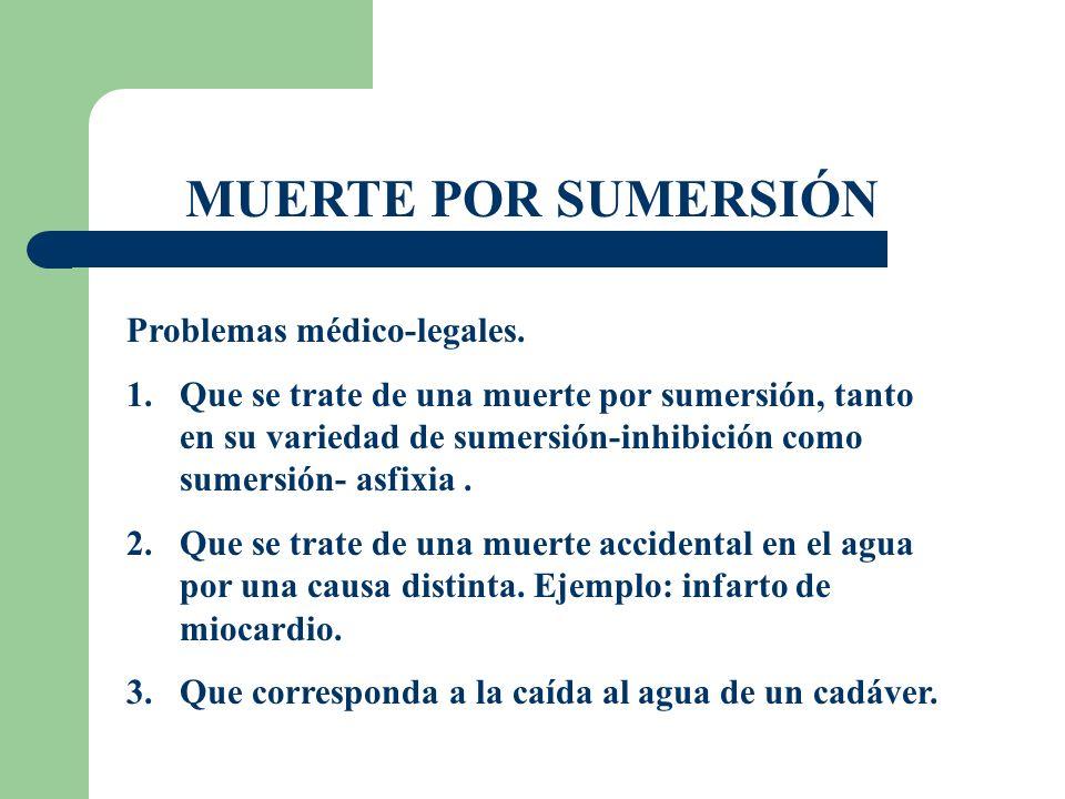 MUERTE POR SUMERSIÓN Problemas médico-legales. 1.Que se trate de una muerte por sumersión, tanto en su variedad de sumersión-inhibición como sumersión