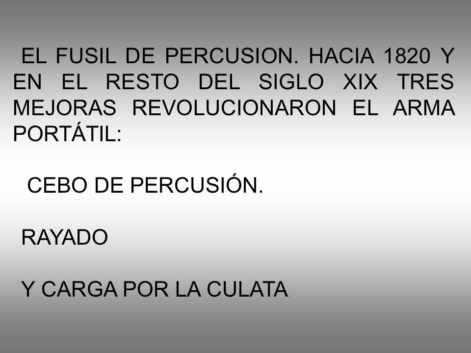 EL FUSIL DE PERCUSION. HACIA 1820 Y EN EL RESTO DEL SIGLO XIX TRES MEJORAS REVOLUCIONARON EL ARMA PORTÁTIL: CEBO DE PERCUSIÓN. RAYADO Y CARGA POR LA C