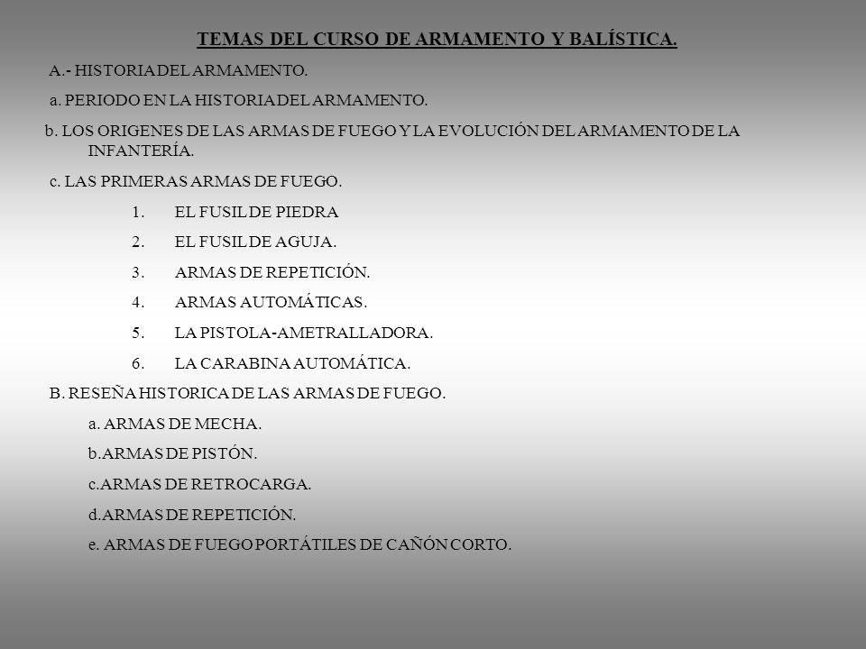TEMAS DEL CURSO DE ARMAMENTO Y BALÍSTICA. A.- HISTORIA DEL ARMAMENTO. a. PERIODO EN LA HISTORIA DEL ARMAMENTO. b. LOS ORIGENES DE LAS ARMAS DE FUEGO Y