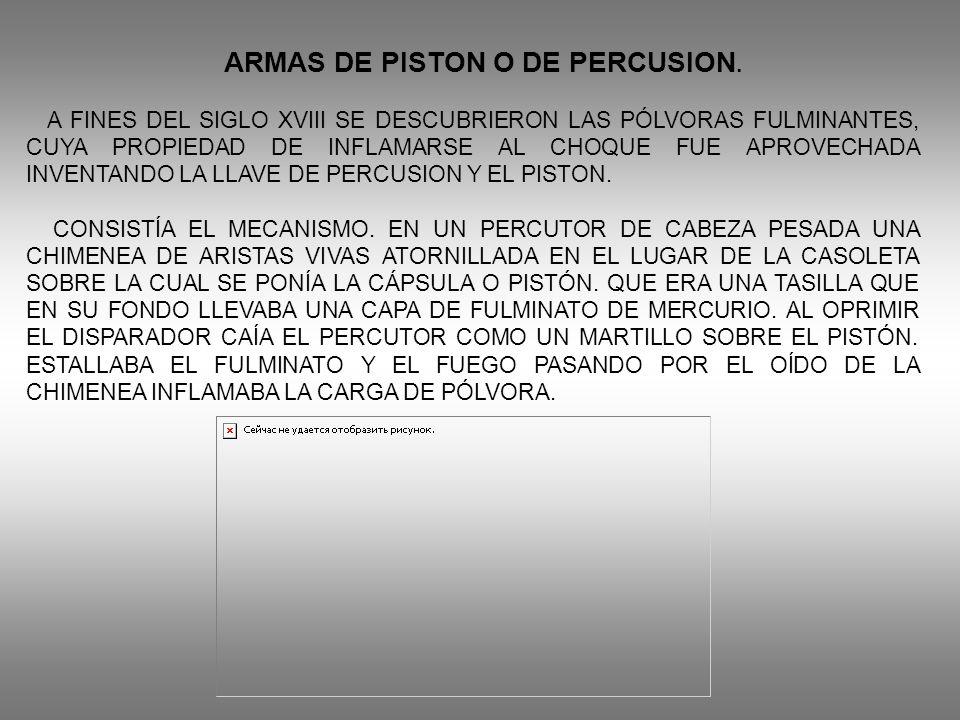 ARMAS DE PISTON O DE PERCUSION. A FINES DEL SIGLO XVIII SE DESCUBRIERON LAS PÓLVORAS FULMINANTES, CUYA PROPIEDAD DE INFLAMARSE AL CHOQUE FUE APROVECHA