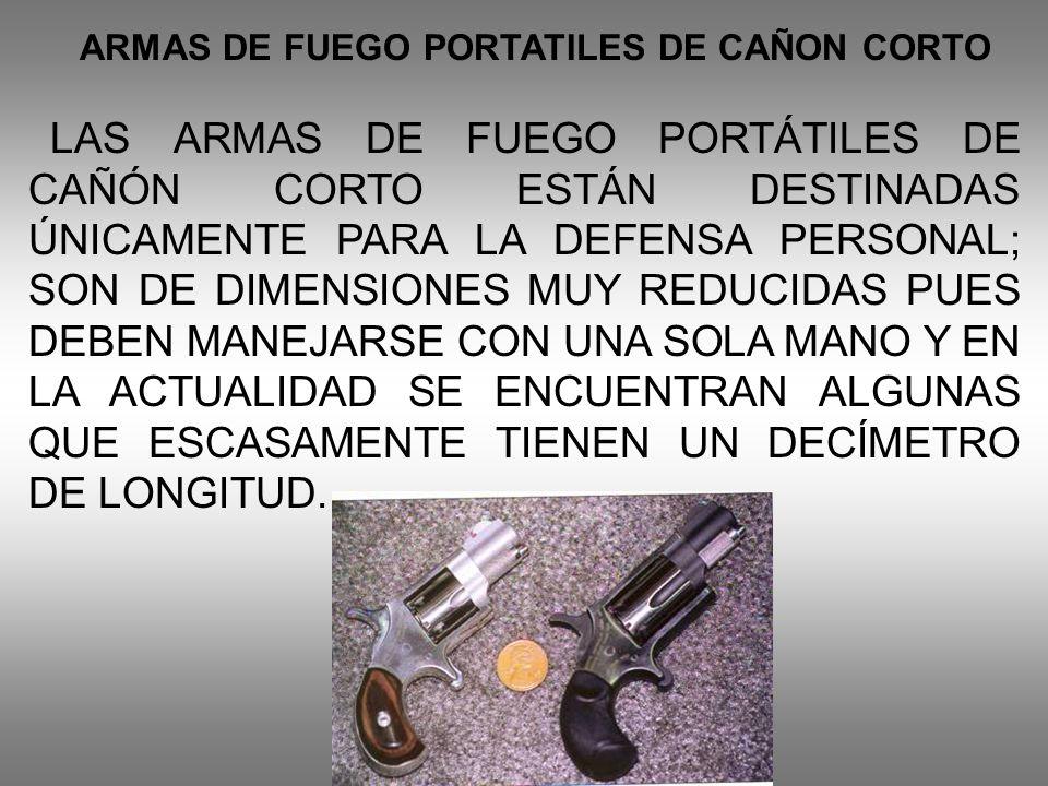 ARMAS DE FUEGO PORTATILES DE CAÑON CORTO LAS ARMAS DE FUEGO PORTÁTILES DE CAÑÓN CORTO ESTÁN DESTINADAS ÚNICAMENTE PARA LA DEFENSA PERSONAL; SON DE DIM