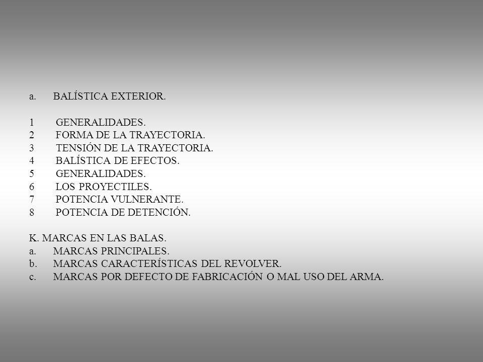a.BALÍSTICA EXTERIOR. 1 GENERALIDADES. 2 FORMA DE LA TRAYECTORIA. 3 TENSIÓN DE LA TRAYECTORIA. 4 BALÍSTICA DE EFECTOS. 5 GENERALIDADES. 6 LOS PROYECTI