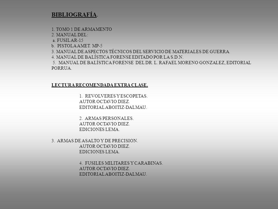 BIBLIOGRAFÍA. 1. TOMO 1 DE ARMAMENTO 2. MANUAL DEL: a. FUSIL AR-15 b. PISTOLA AMET. MP-5 3. MANUAL DE ASPECTOS TÉCNICOS DEL SERVICIO DE MATERIALES DE
