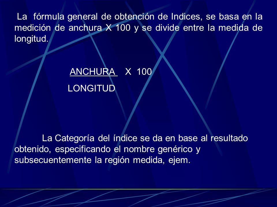 La fórmula general de obtención de Indices, se basa en la medición de anchura X 100 y se divide entre la medida de longitud. ANCHURA X 100 LONGITUD La