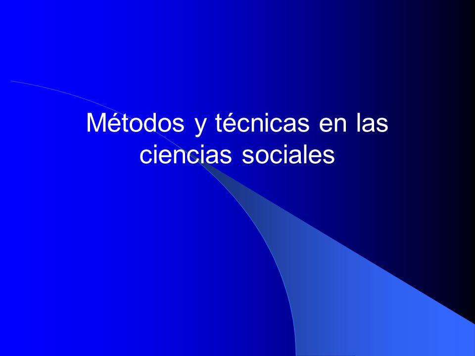 Métodos y técnicas en las ciencias sociales