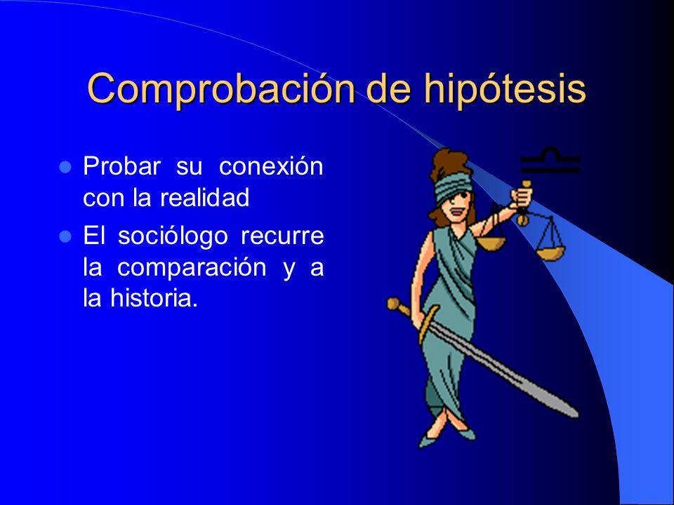Comprobación de hipótesis Probar su conexión con la realidad El sociólogo recurre la comparación y a la historia.