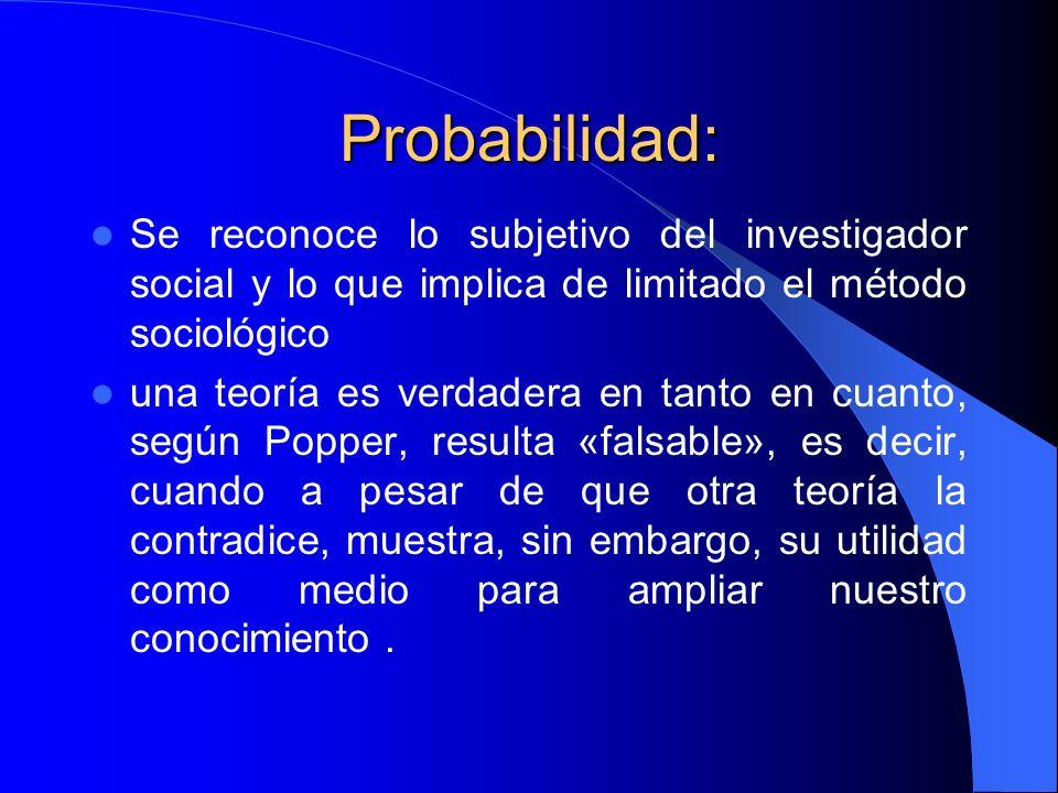 Probabilidad: Se reconoce lo subjetivo del investigador social y lo que implica de limitado el método sociológico una teoría es verdadera en tanto en