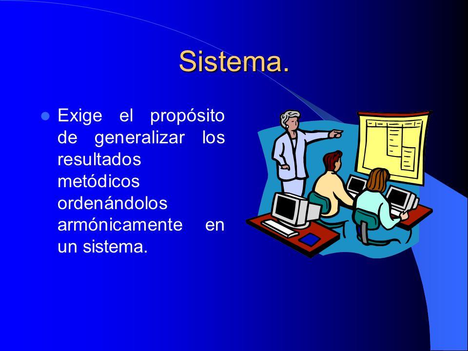 Sistema. Exige el propósito de generalizar los resultados metódicos ordenándolos armónicamente en un sistema.