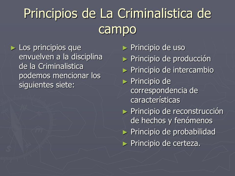 Los principios que envuelven a la disciplina de la Criminalistica podemos mencionar los siguientes siete: Los principios que envuelven a la disciplina