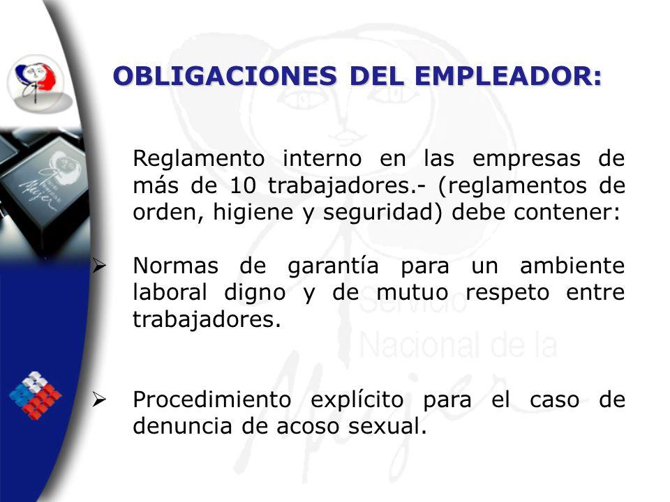 OBLIGACIONES DEL EMPLEADOR: Reglamento interno en las empresas de más de 10 trabajadores.- (reglamentos de orden, higiene y seguridad) debe contener: