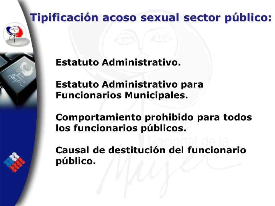 Tipificación acoso sexual sector público: Estatuto Administrativo. Estatuto Administrativo para Funcionarios Municipales. Comportamiento prohibido par