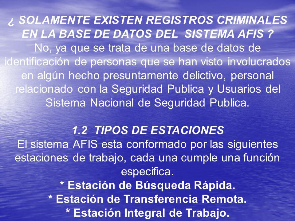 ¿ SOLAMENTE EXISTEN REGISTROS CRIMINALES EN LA BASE DE DATOS DEL SISTEMA AFIS ? No, ya que se trata de una base de datos de identificación de personas