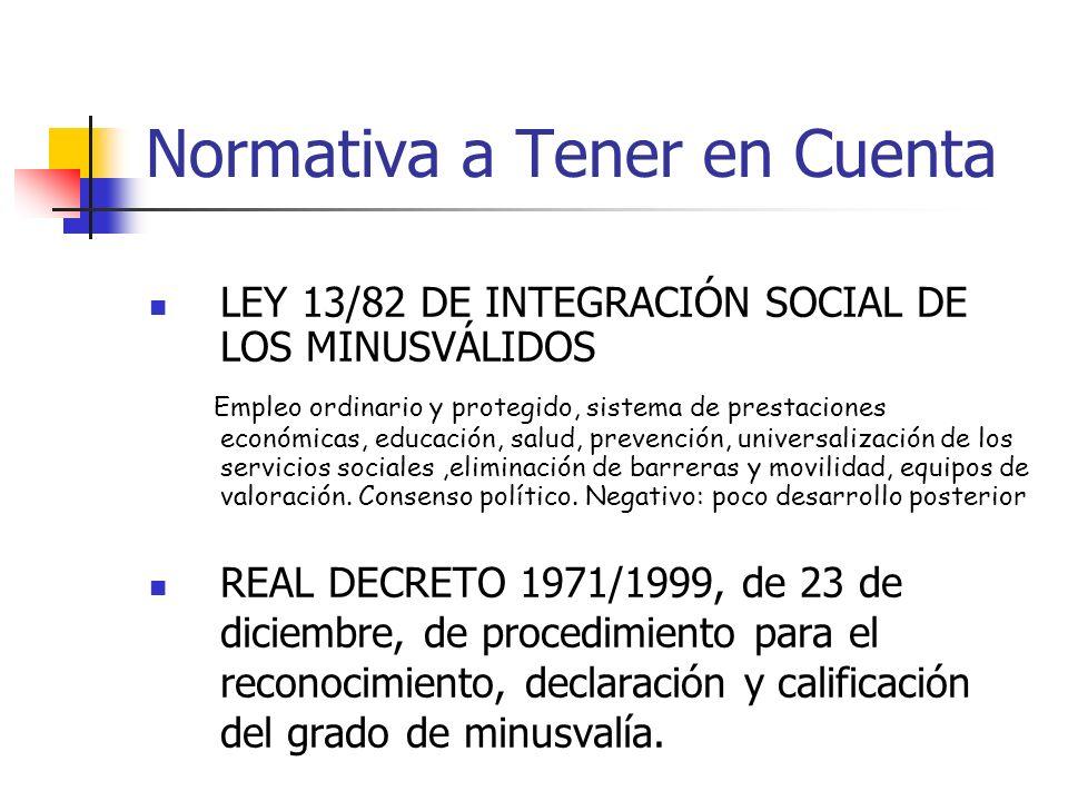 LEY 13/82 DE INTEGRACIÓN SOCIAL DE LOS MINUSVÁLIDOS Empleo ordinario y protegido, sistema de prestaciones económicas, educación, salud, prevención, un
