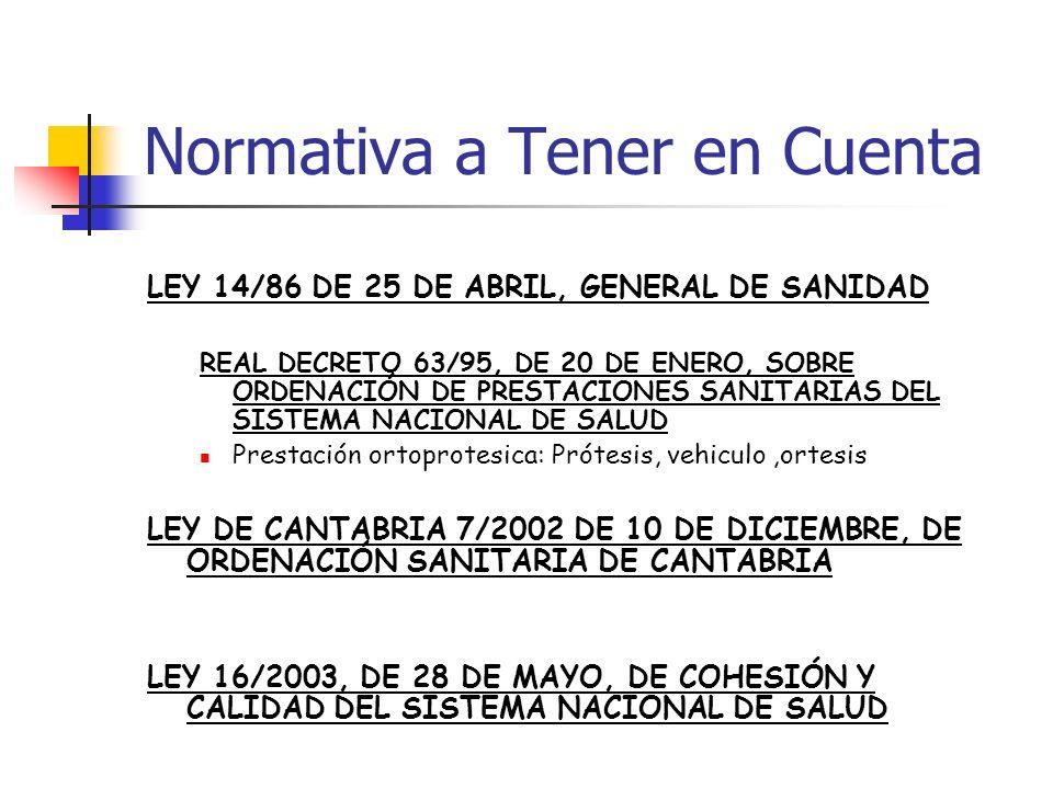 LEY 14/86 DE 25 DE ABRIL, GENERAL DE SANIDAD REAL DECRETO 63/95, DE 20 DE ENERO, SOBRE ORDENACIÓN DE PRESTACIONES SANITARIAS DEL SISTEMA NACIONAL DE S