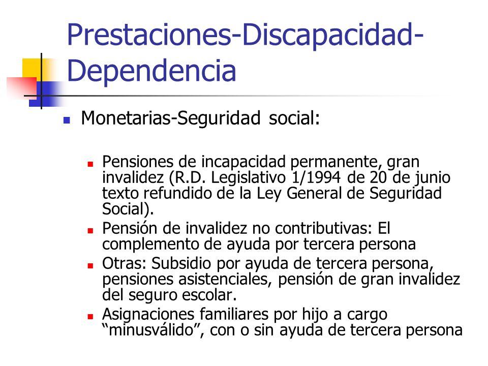 Prestaciones-Discapacidad- Dependencia Monetarias-Seguridad social: Pensiones de incapacidad permanente, gran invalidez (R.D. Legislativo 1/1994 de 20