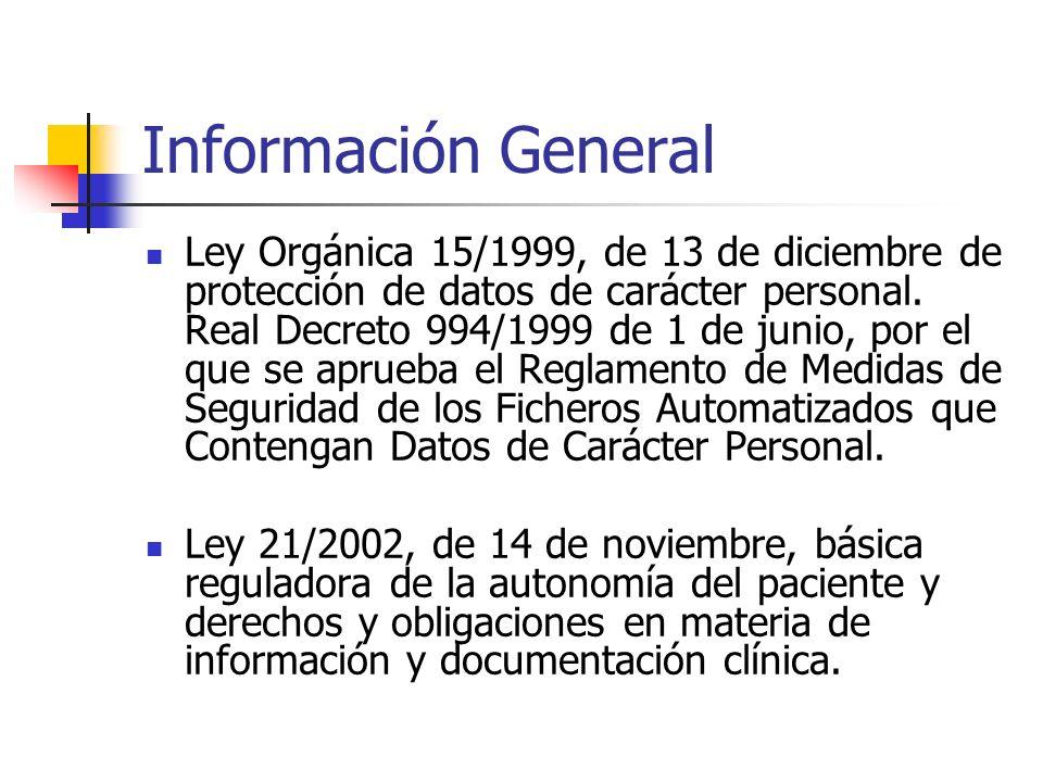 Información General Ley Orgánica 15/1999, de 13 de diciembre de protección de datos de carácter personal. Real Decreto 994/1999 de 1 de junio, por el