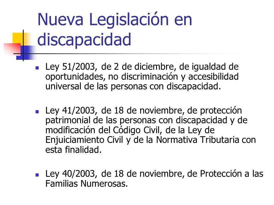 Nueva Legislación en discapacidad Ley 51/2003, de 2 de diciembre, de igualdad de oportunidades, no discriminación y accesibilidad universal de las per