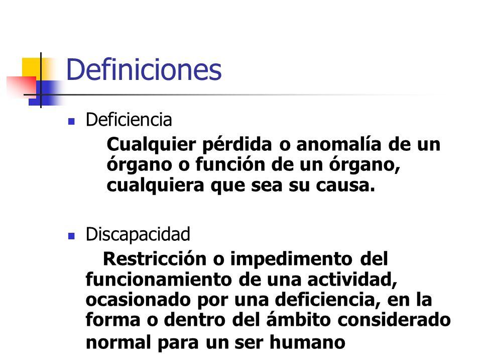 Definiciones Deficiencia Cualquier pérdida o anomalía de un órgano o función de un órgano, cualquiera que sea su causa. Discapacidad Restricción o imp