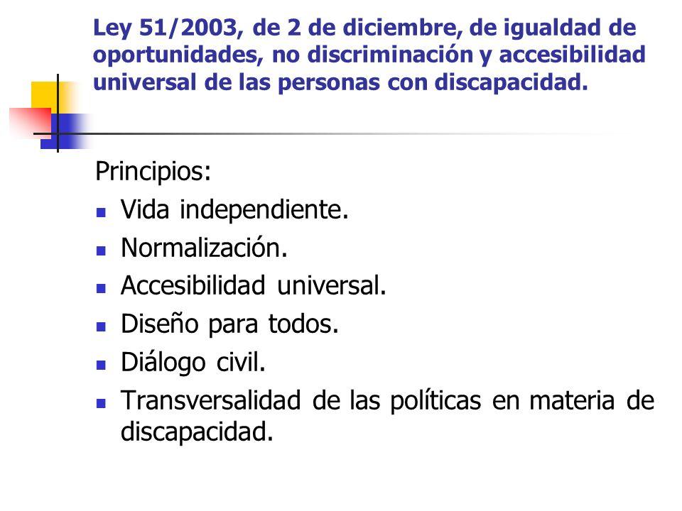 Ley 51/2003, de 2 de diciembre, de igualdad de oportunidades, no discriminación y accesibilidad universal de las personas con discapacidad. Principios