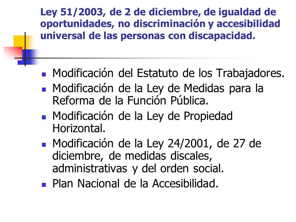 Ley 51/2003, de 2 de diciembre, de igualdad de oportunidades, no discriminación y accesibilidad universal de las personas con discapacidad. Modificaci